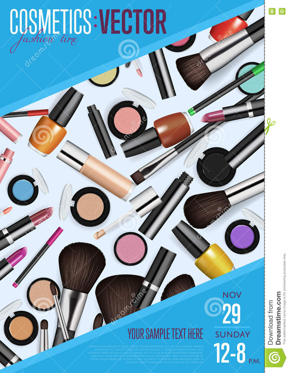 Cosmetics Vector Promo Poster With Date And Time Stock
