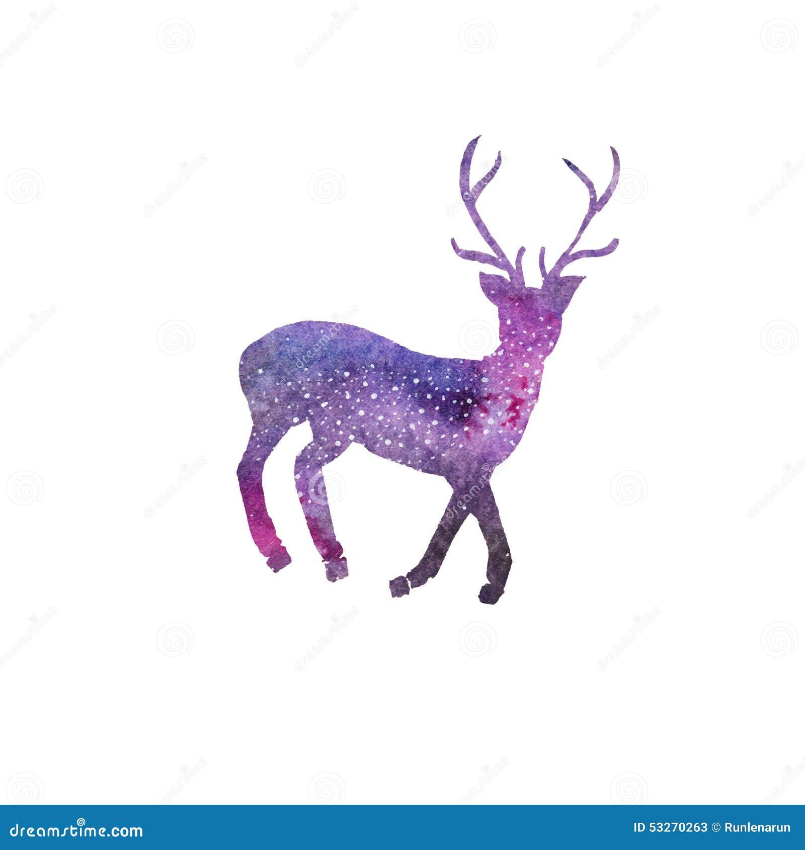 Cosmic Deer. Watercolor Galaxy Deer On The White Stock
