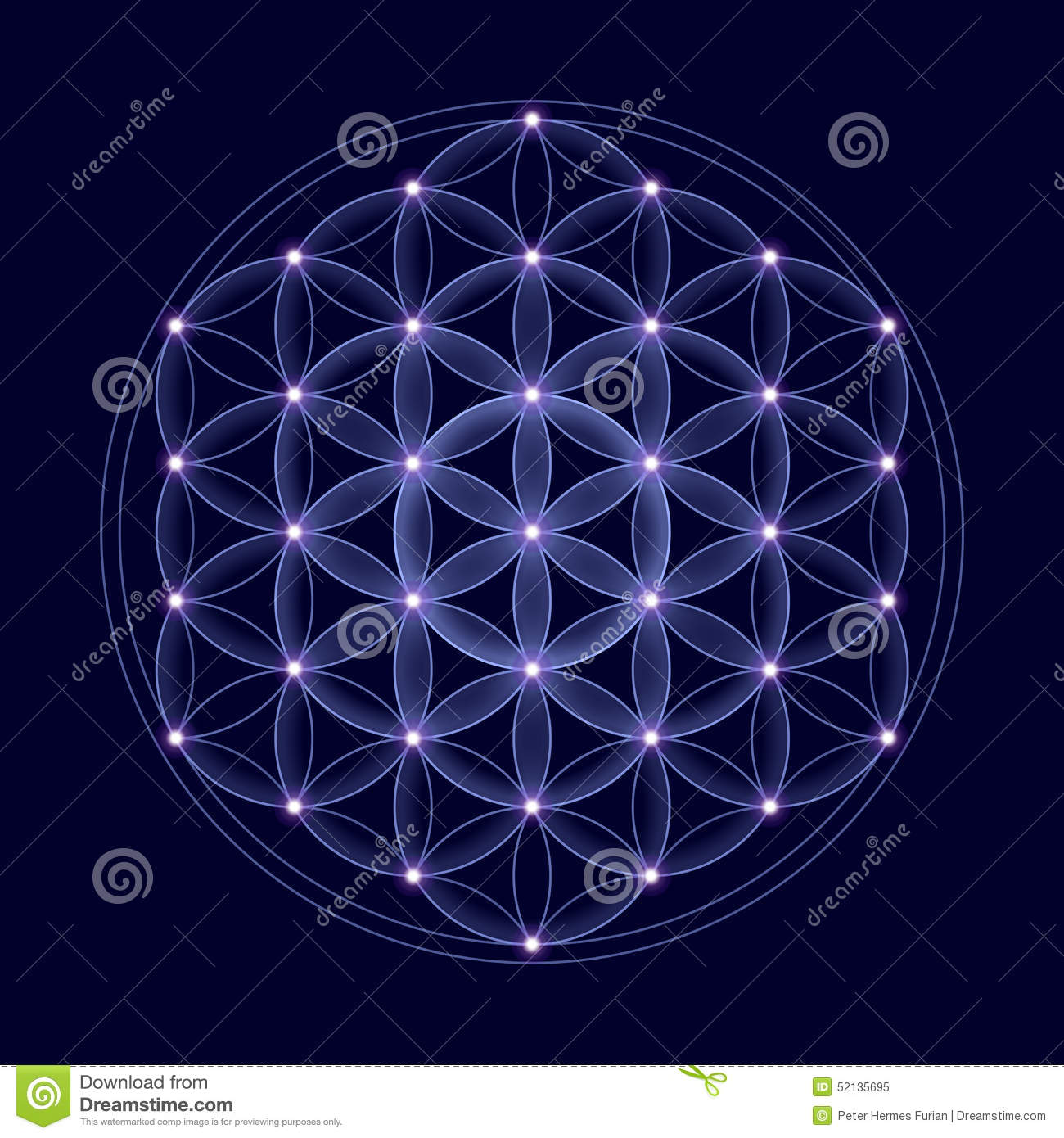 Cosmic Flower Of Life With Stars Stock Illustration