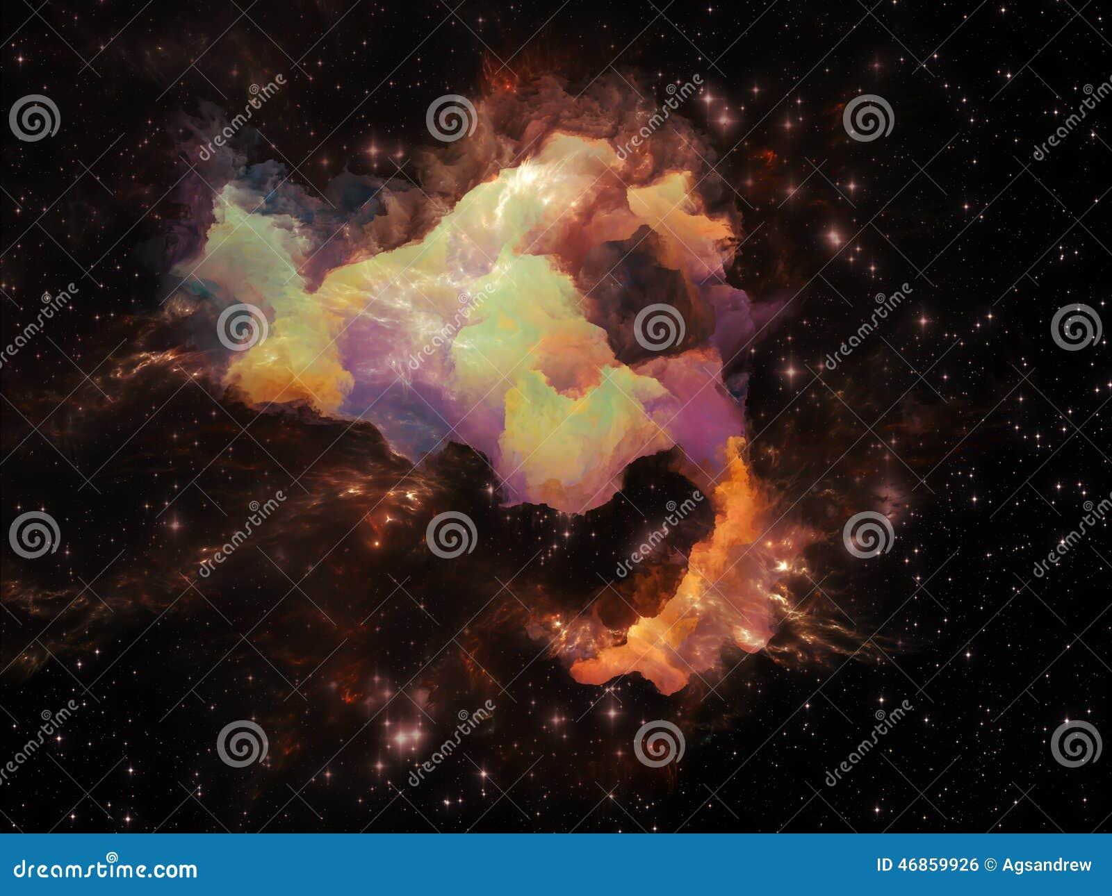 Cosmic Fantasy Fractal Blacklight: Cosmic Nebula Stock Illustration