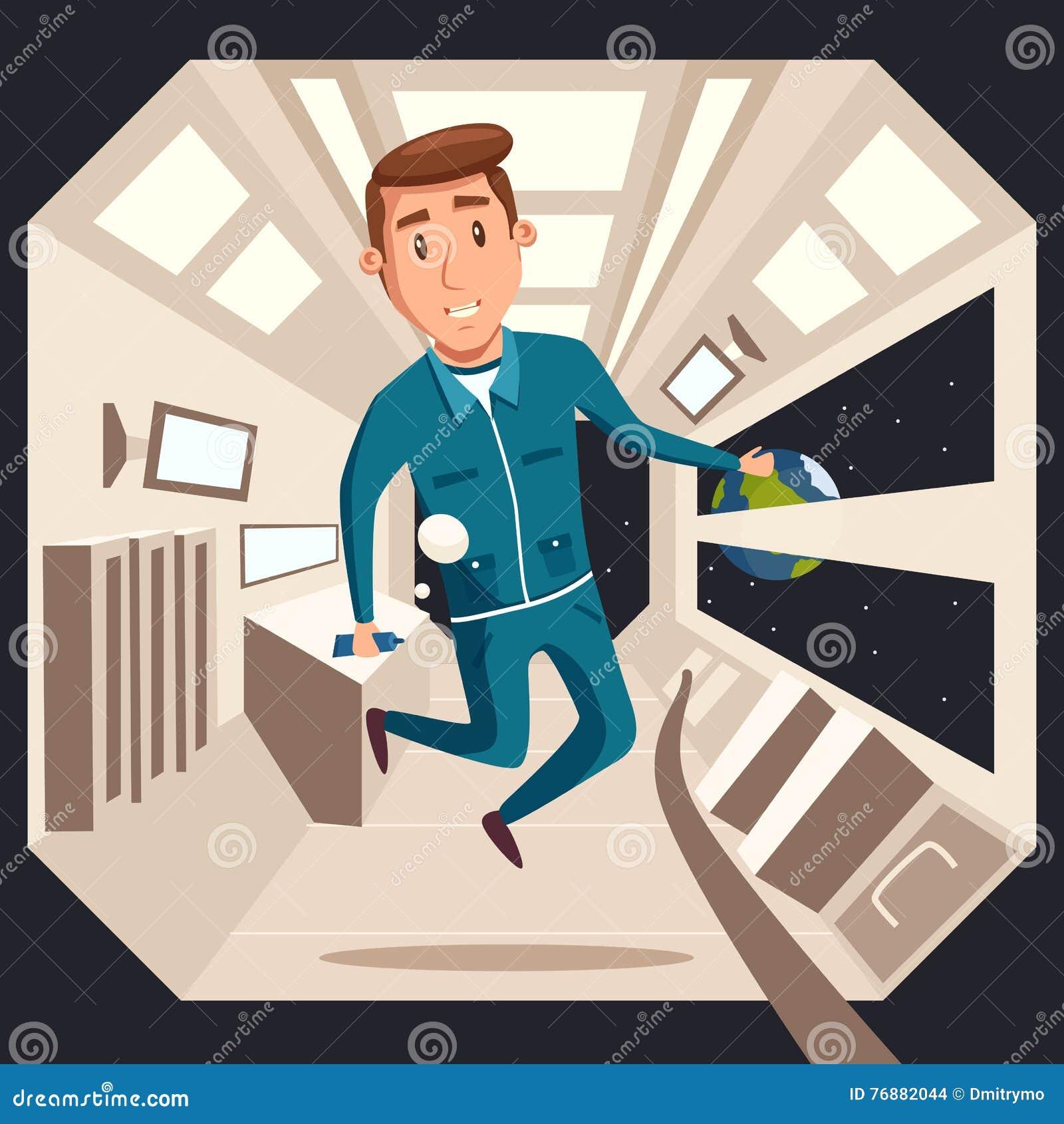 Cosmonauta en la gravedad cero Ilustración de la historieta del vector