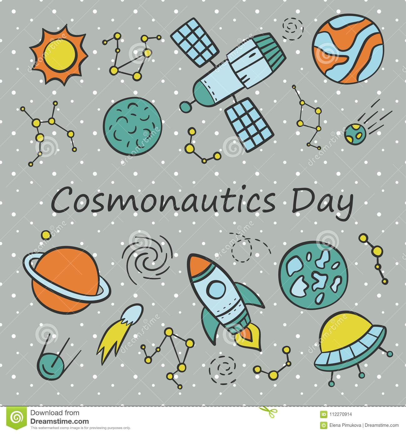 Cosmonautics Day. Card. Set of elements in doodle and cartoon style.