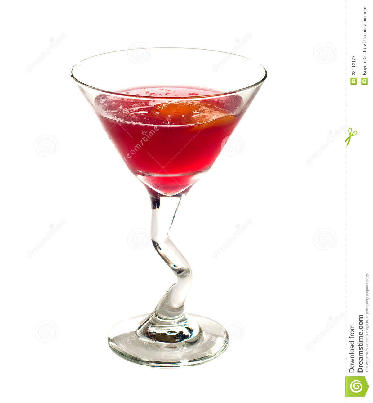 Classic Cosmopolitan Cocktail drink isolated on white background.