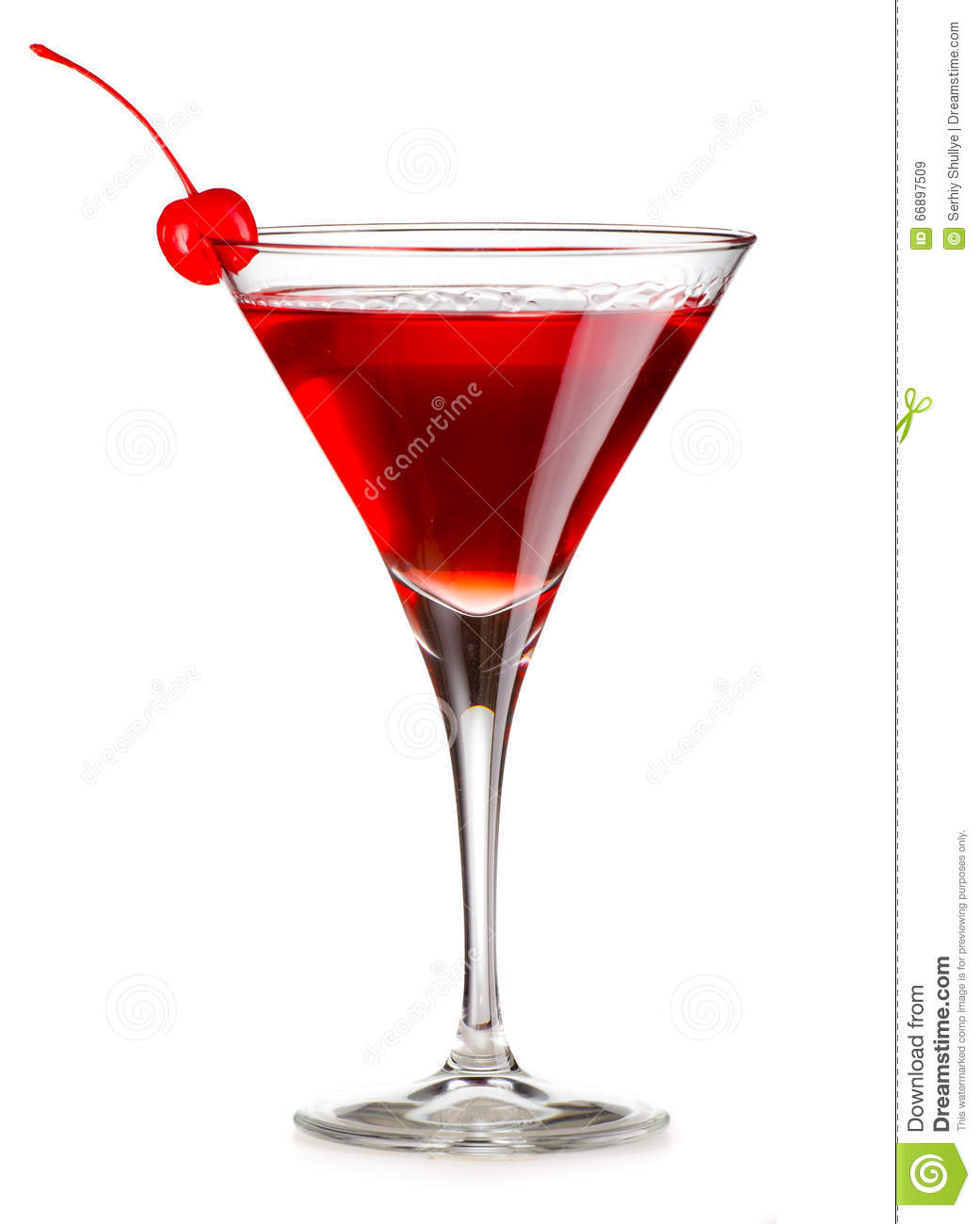 Cosmopolitan Cocktail With Cherry Isolated Stock Image