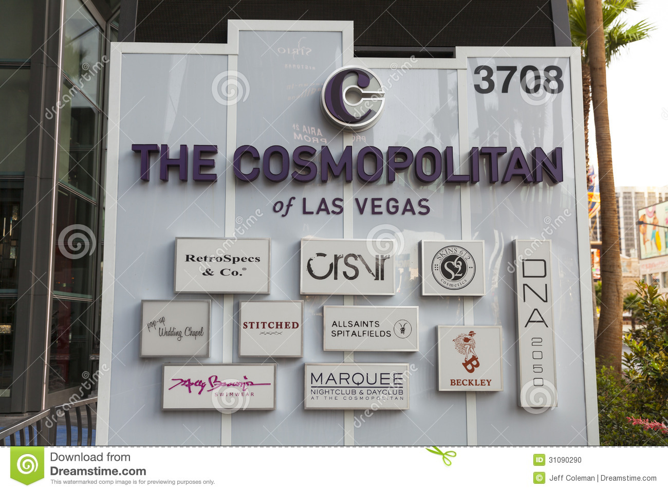 The cosmopolitan sign in las vegas nv on may 18 2013 editorial image