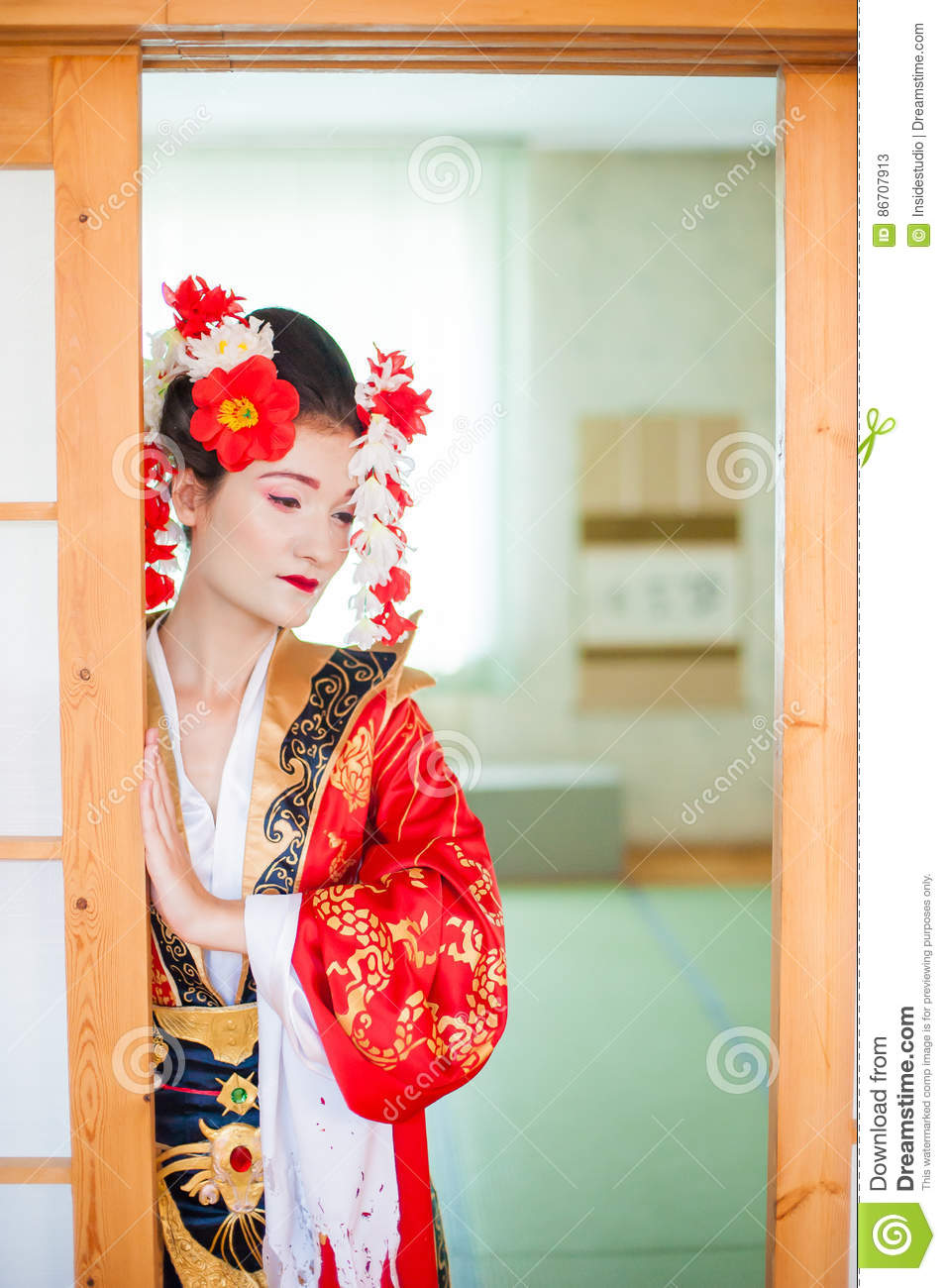 Cosplay. Beautiful, Modest Geisha In A Red Kimono Stock ...