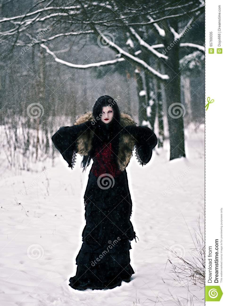 Cosplay Black Witch In Winter Forest Stock Image - Image ...