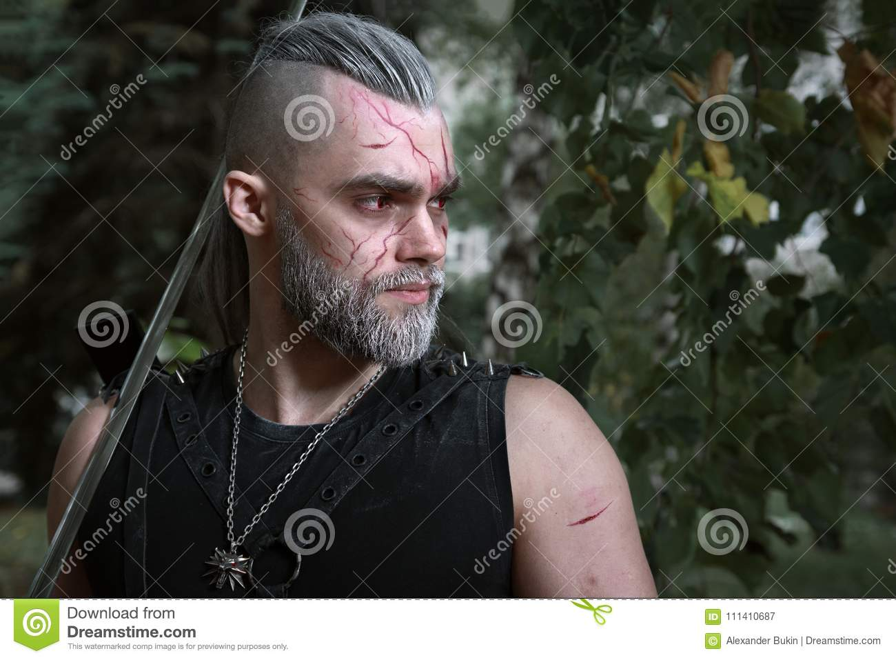 Cosplay, Dressed Like A Hero Geralt Of Rivia From The Game