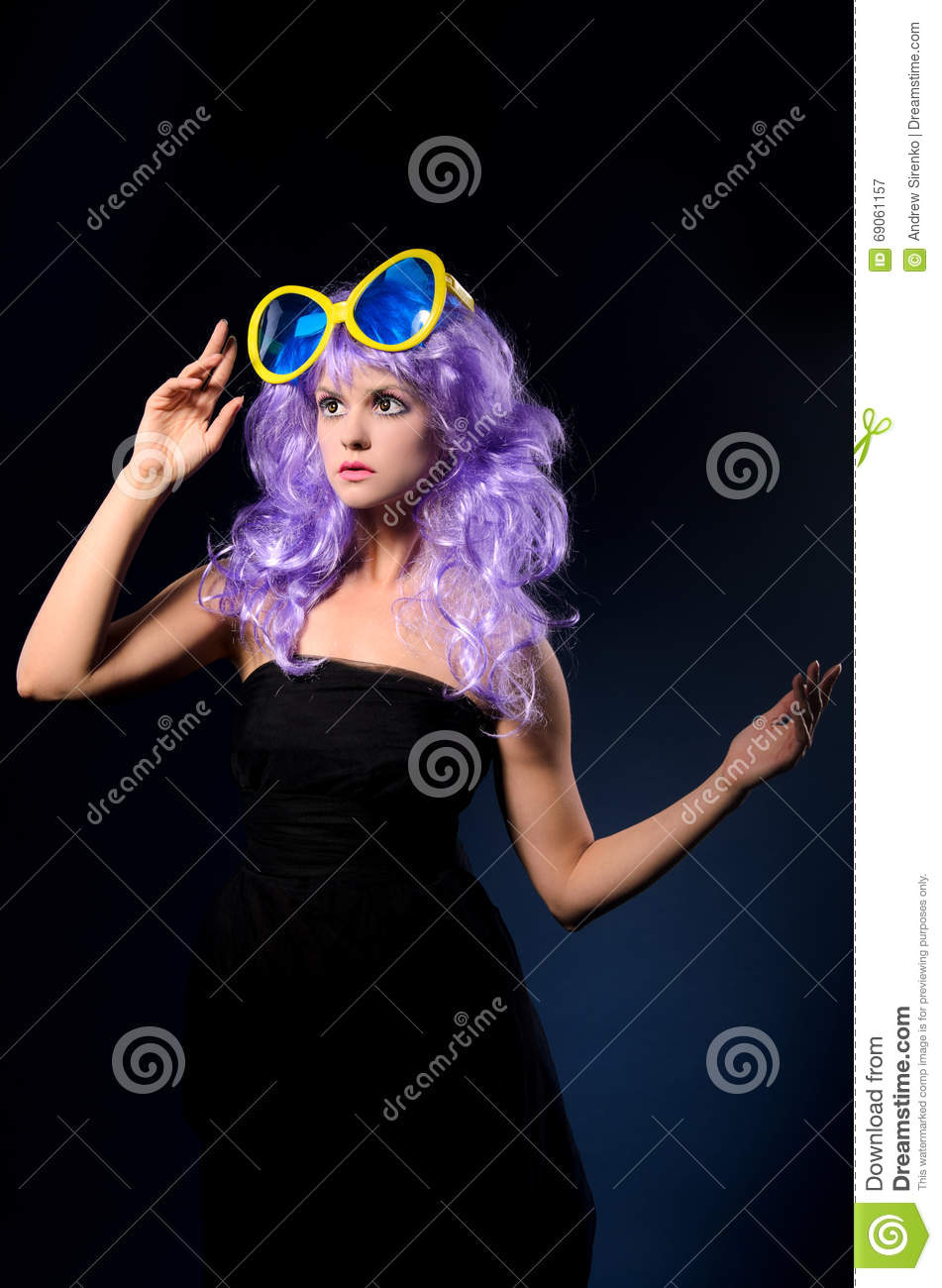 Cosplay Girl In Purple Wig With Big Sunglasses Stock Image - Image ... 734736d4a