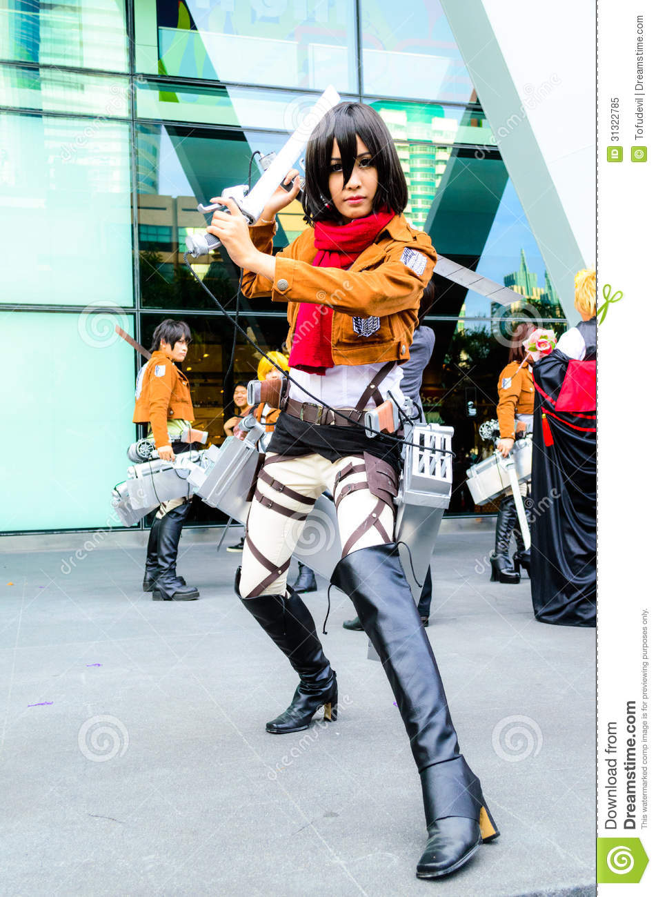 Cosplayer As Characters Mikasa Ackerman From Attac Editorial