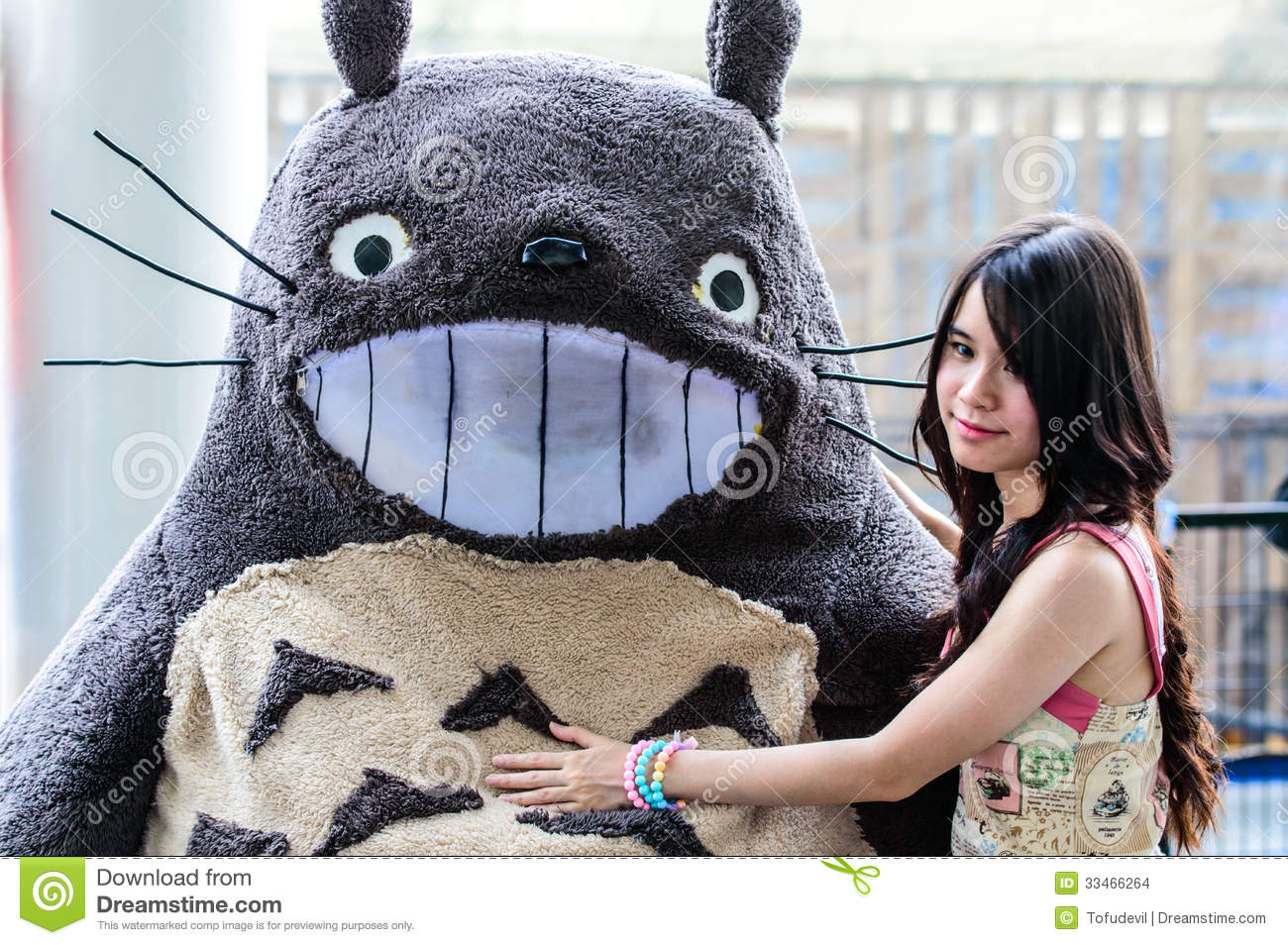 Cosplayer as characters Totoro from My Neighbor Totoro in Japan Festa in Bangkok 2013.