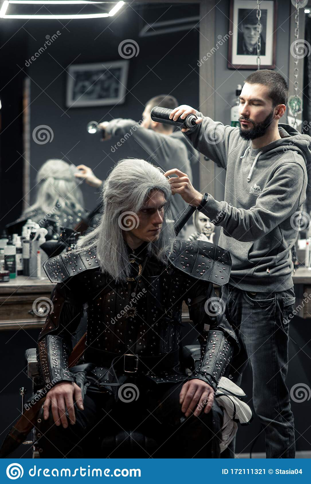 Cosplayer In Image Of A Character Geralt Of Rivia From The Game Or Series The Witcher Makes Hair Styling At Barbershop Editorial Photo Image Of Caucasian Film 172111321
