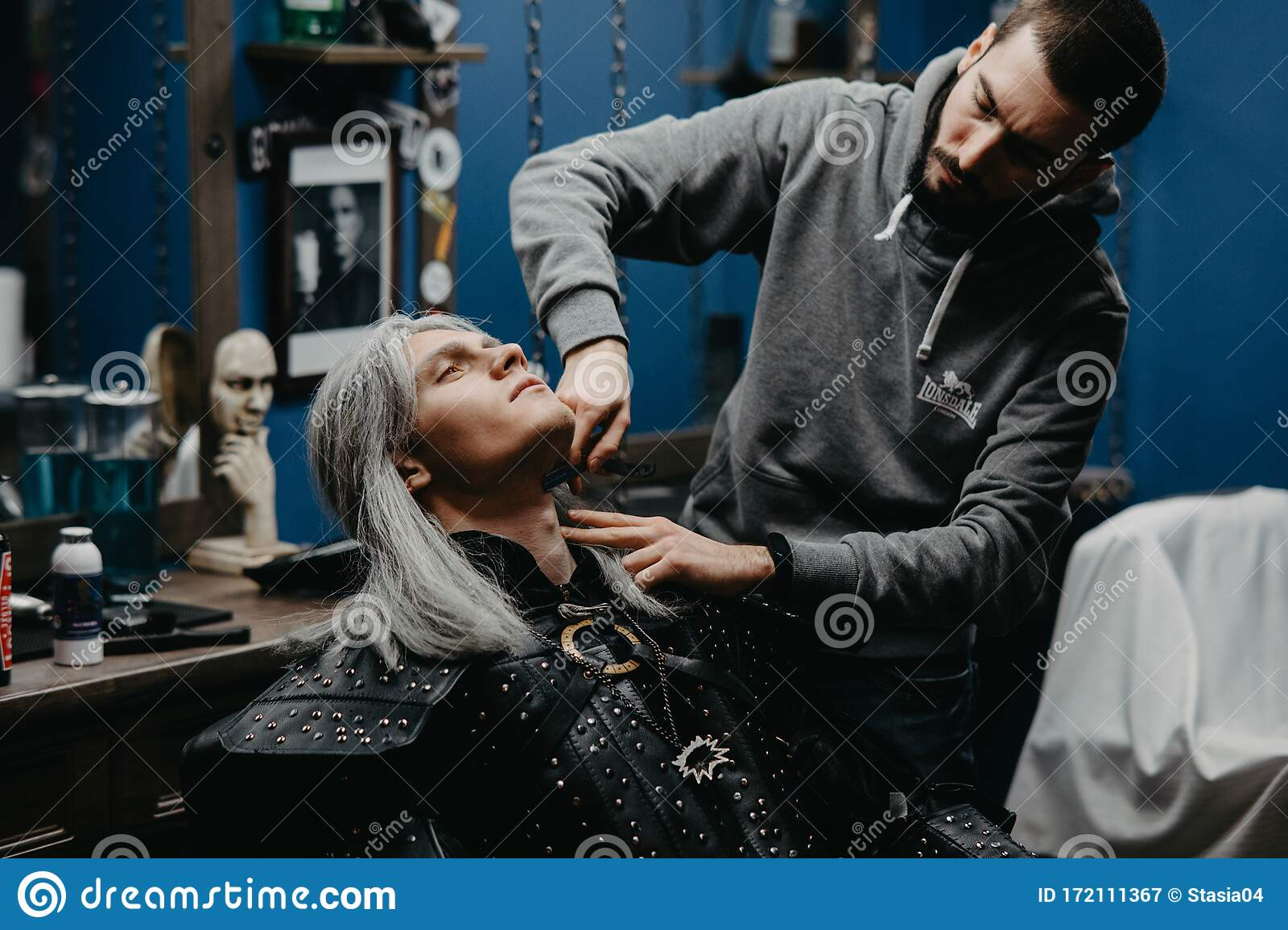 Cosplayer In Image Of A Character Geralt Of Rivia From The Game Or Series The Witcher Makes Hair Styling At Barbershop Editorial Photography Image Of Adult Hairdresser 172111367