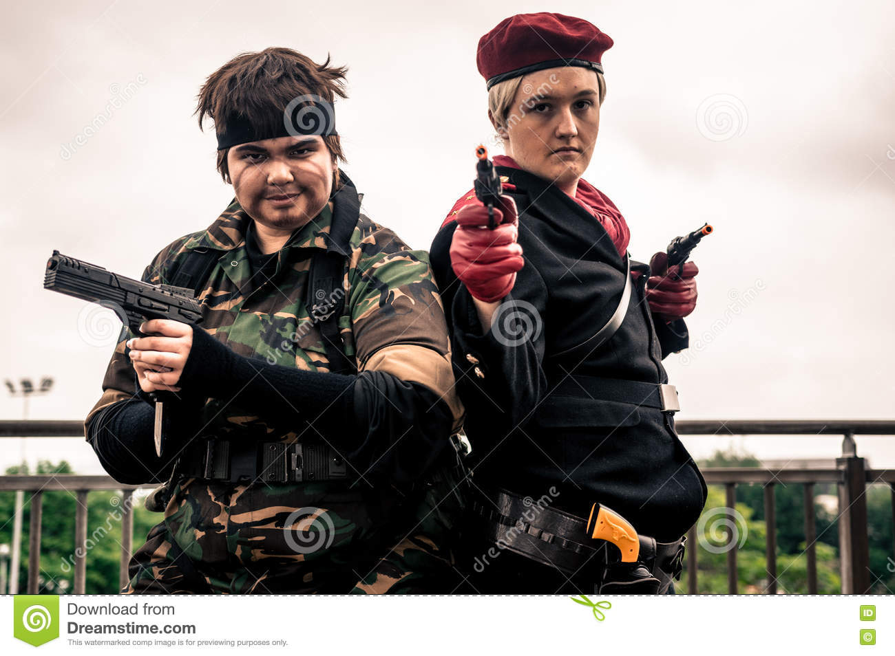 Cosplayers Dressed As Solid Snake Left And Revolver Ocelot