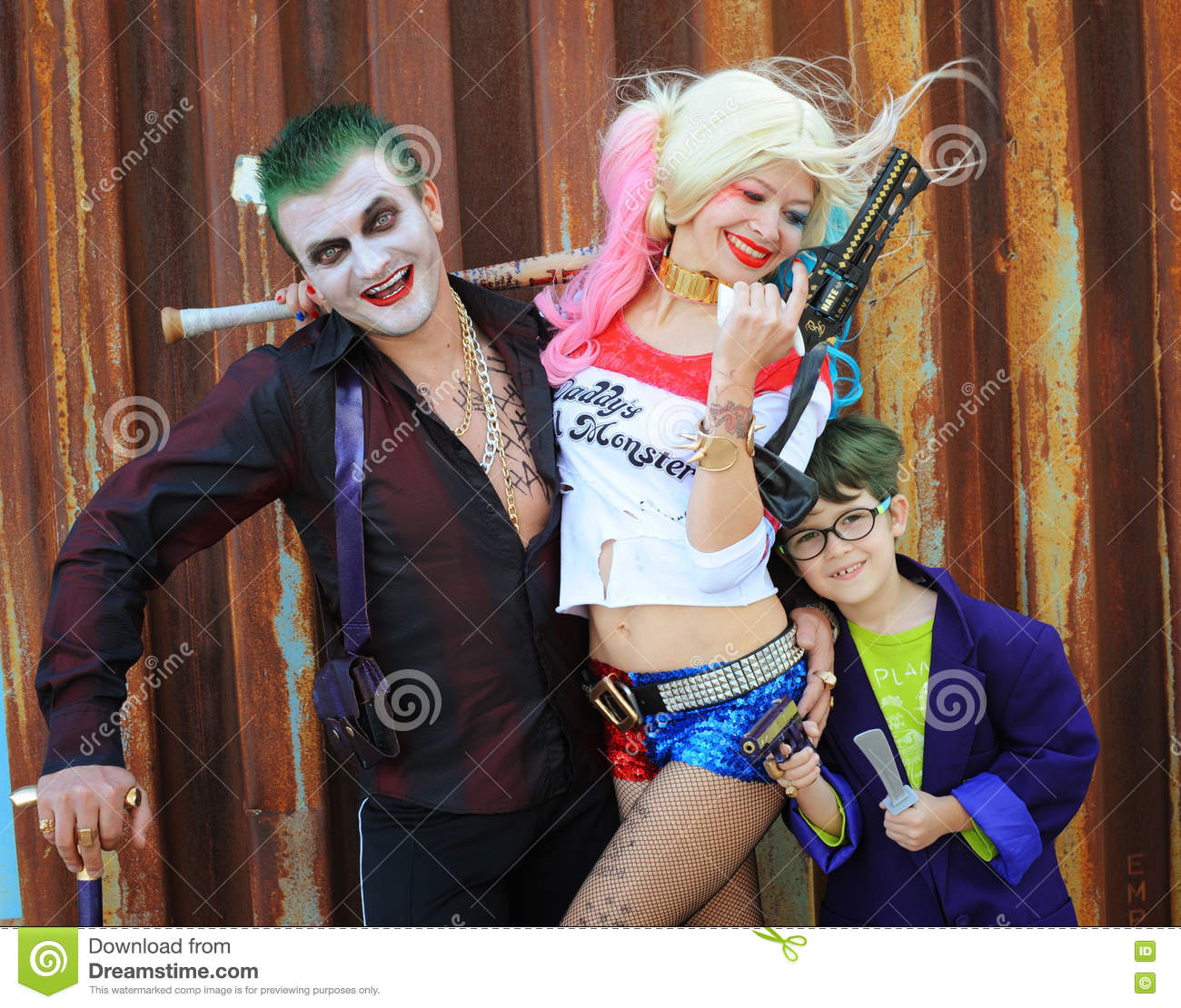 Download comp  sc 1 st  Dreamstime.com & Cosplayers In Harley Quinn Costume In Joker Costumes Editorial ...