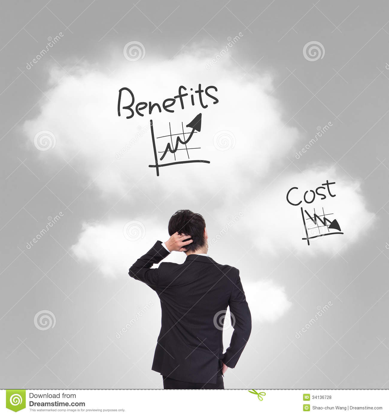 Person Pricing: Cost And Benefits Problem Stock Photo. Image Of Increase