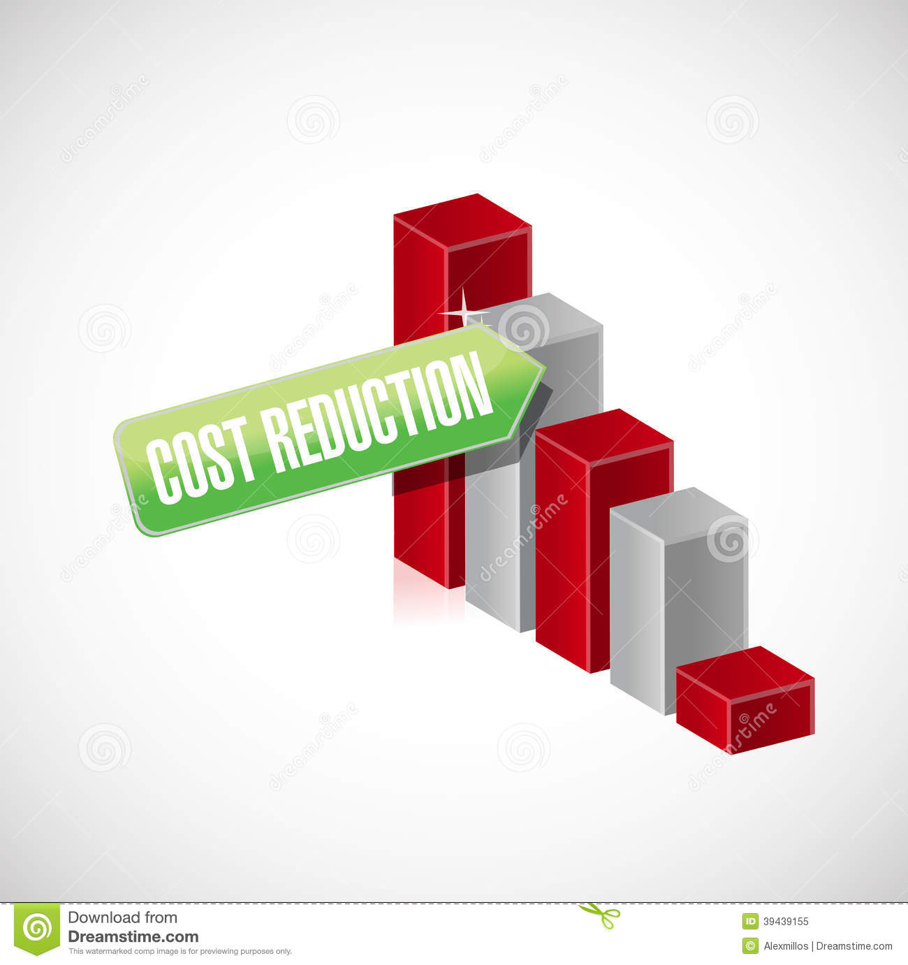Cost Reduction Business Graph Illustration Design Stock ...