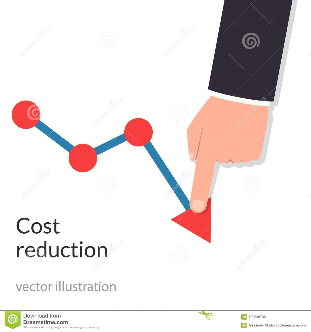 Cost reduction concept. Cost down. Businessman with his hand lowers the arrow of the graph. Decrease down profit