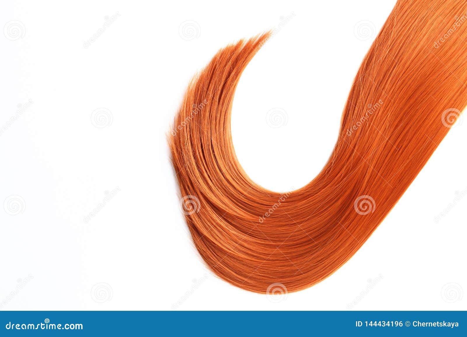 Costa bonita do cabelo vermelho reto na vista branca, superior Serviço do cabeleireiro