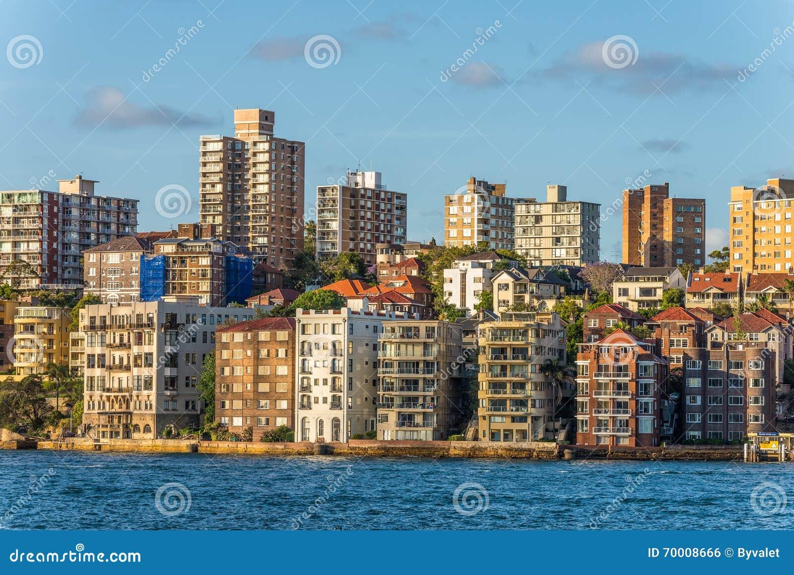 Costa costa de la ciudad, surburb de Kirribilli de Sydney Australia, balneario de la copia