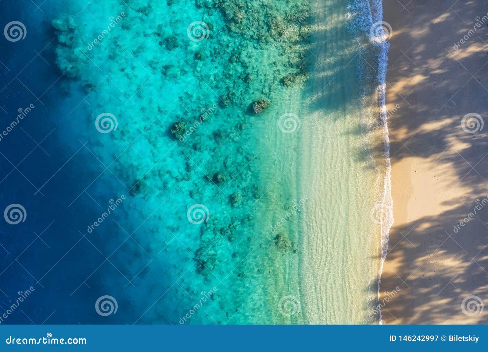 Costa de mar como fondo de la visión superior Fondo del agua de la turquesa de la visi?n superior Paisaje marino del verano del a