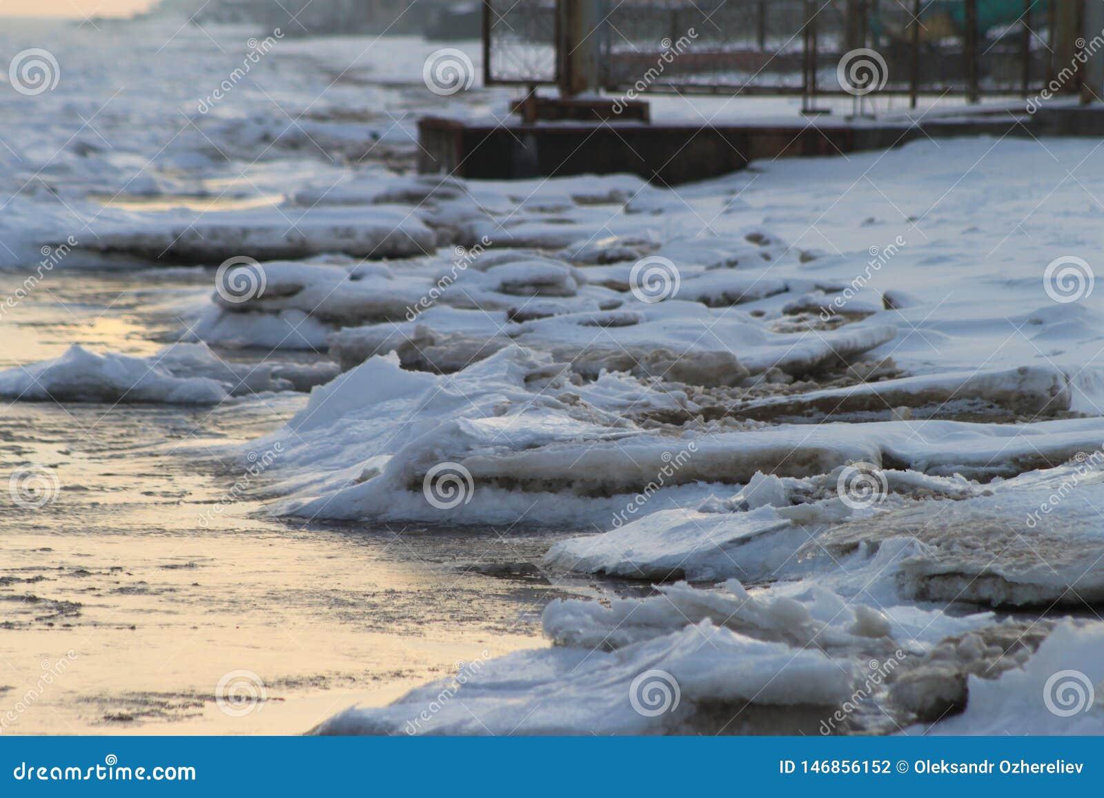 Costa di inverno del mare di Azov