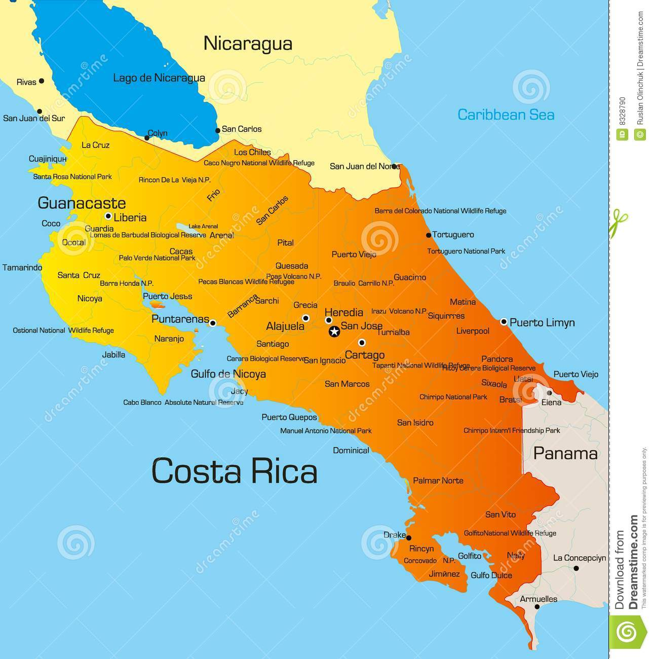 photo relating to Printable Map of Costa Rica referred to as Costa Rica inventory vector. Instance of land, cartography