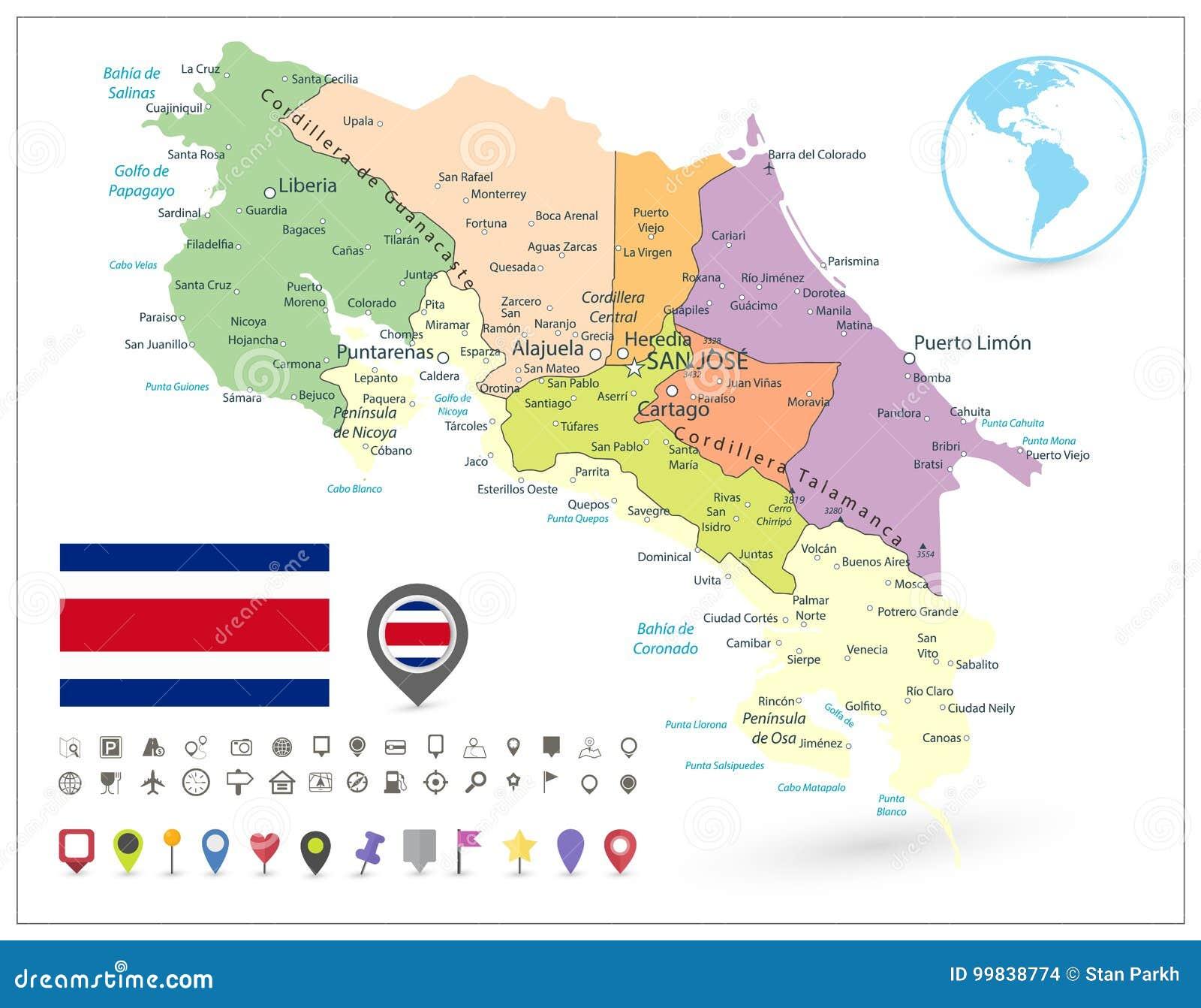 Costa Rica Administrative Map Isolated On vita och översiktssymboler