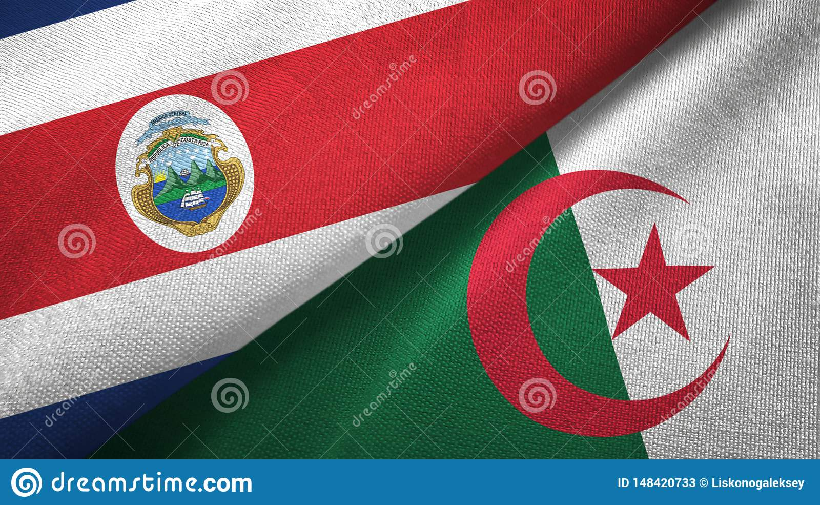 Costa Rica and Algeria two flags textile cloth, fabric texture
