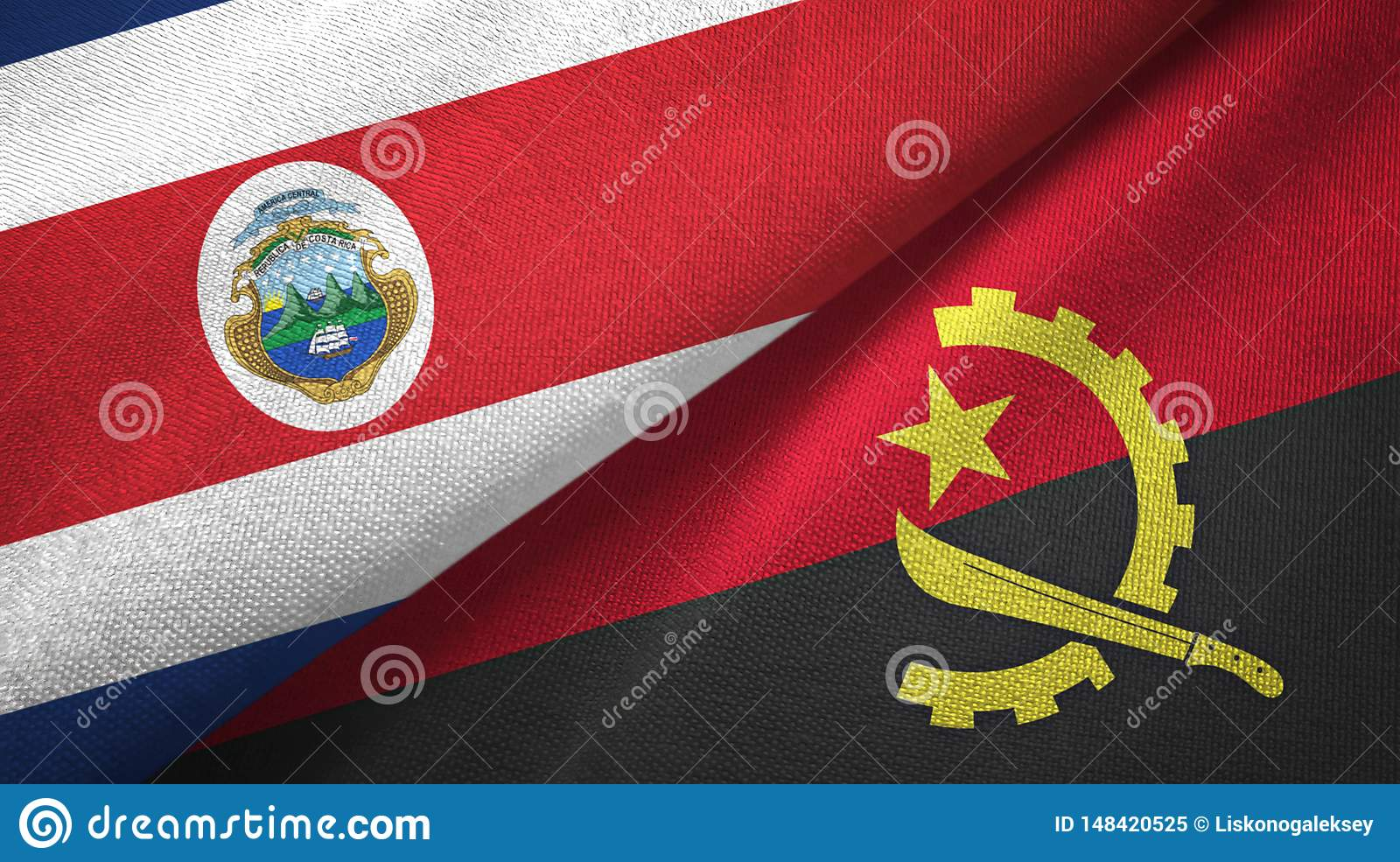 Costa Rica and Angola two flags textile cloth, fabric texture