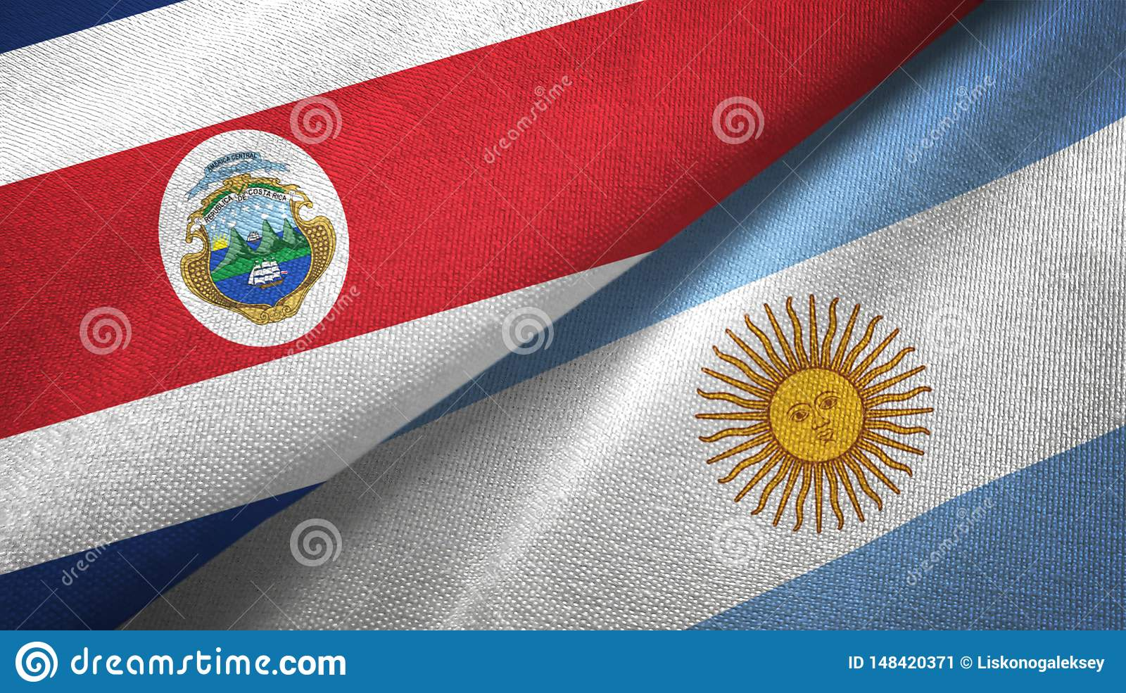Costa Rica and Argentina two flags textile cloth, fabric texture