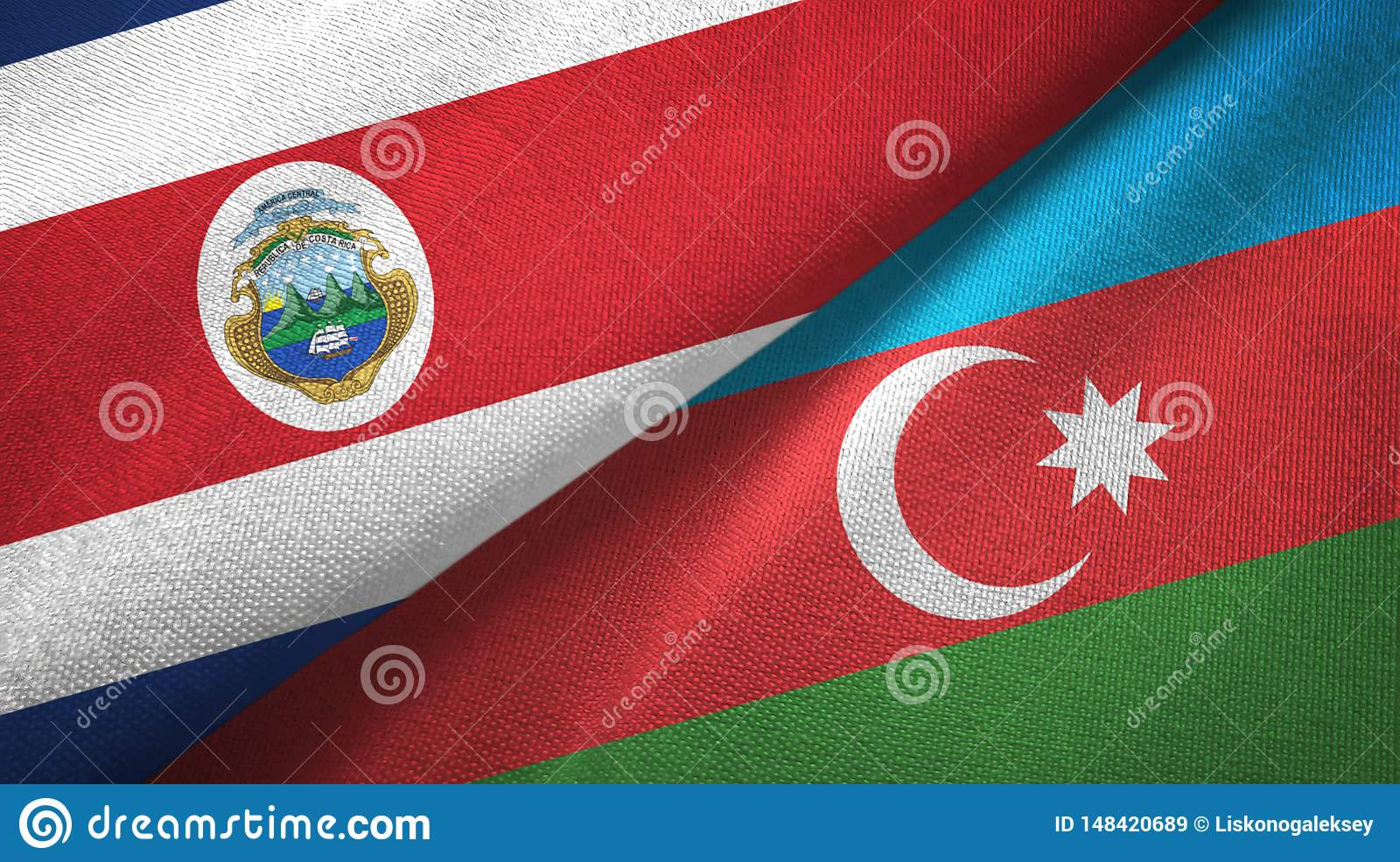 Costa Rica and Azerbaijan two flags textile cloth, fabric texture