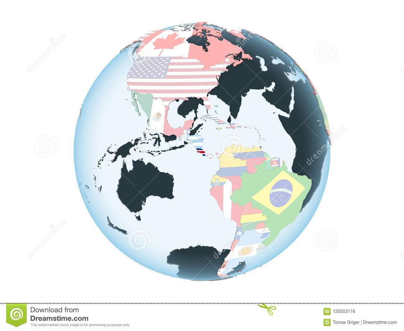Costa Rica With Flag Globe Isolated Stock Illustration
