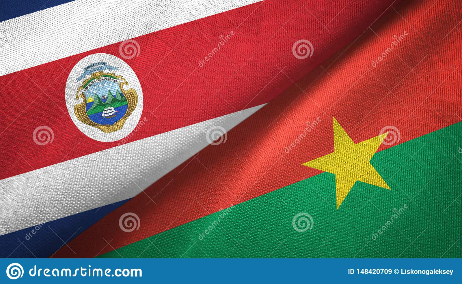 Costa Rica and Burkina Faso two flags textile cloth, fabric texture