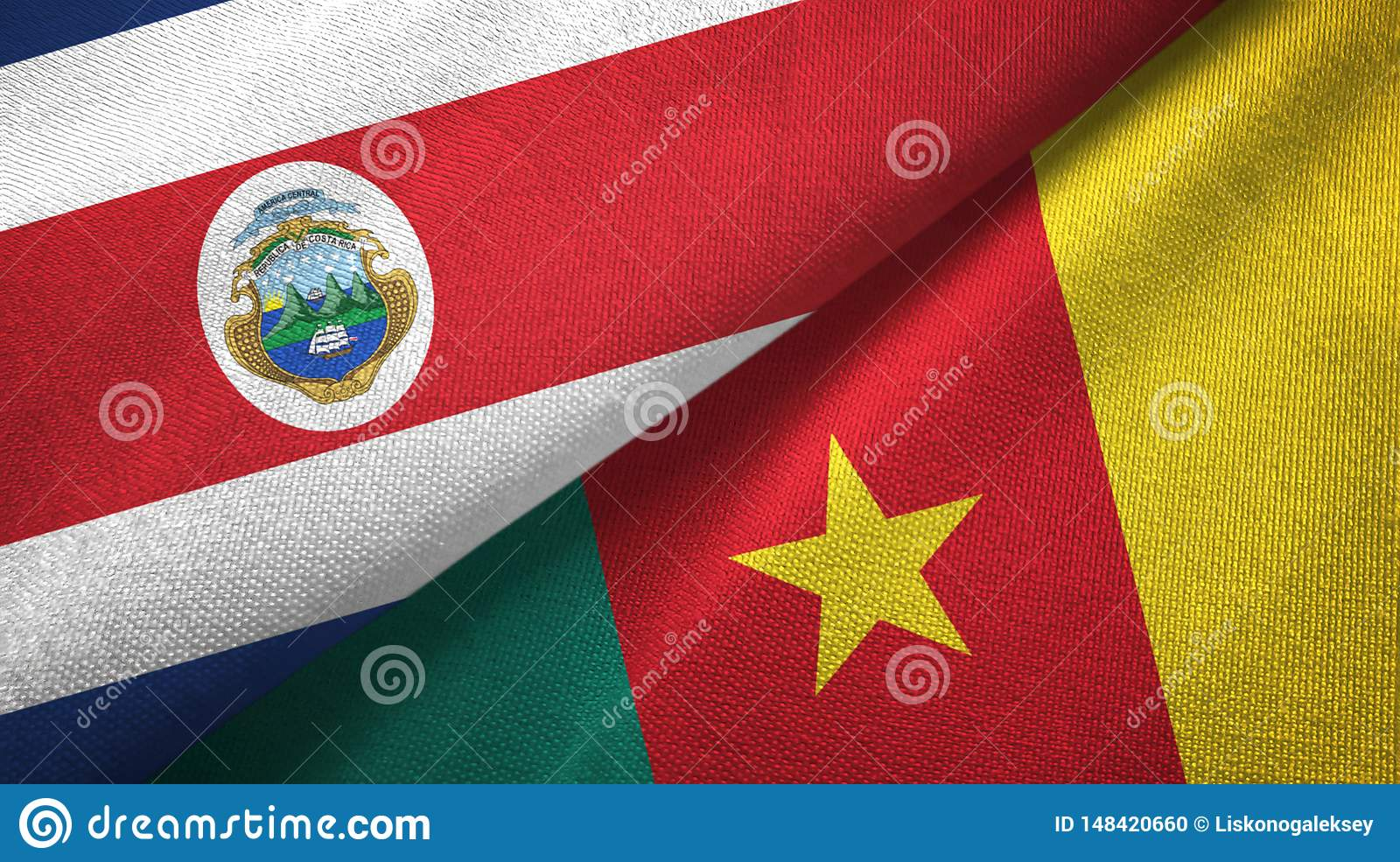 Costa Rica and Cameroon two flags textile cloth, fabric texture