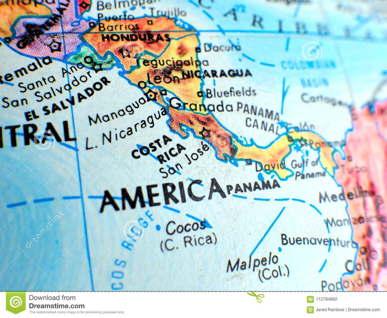 Costa Rica Central America Focus Macro Shot On Globe Map For Travel ...