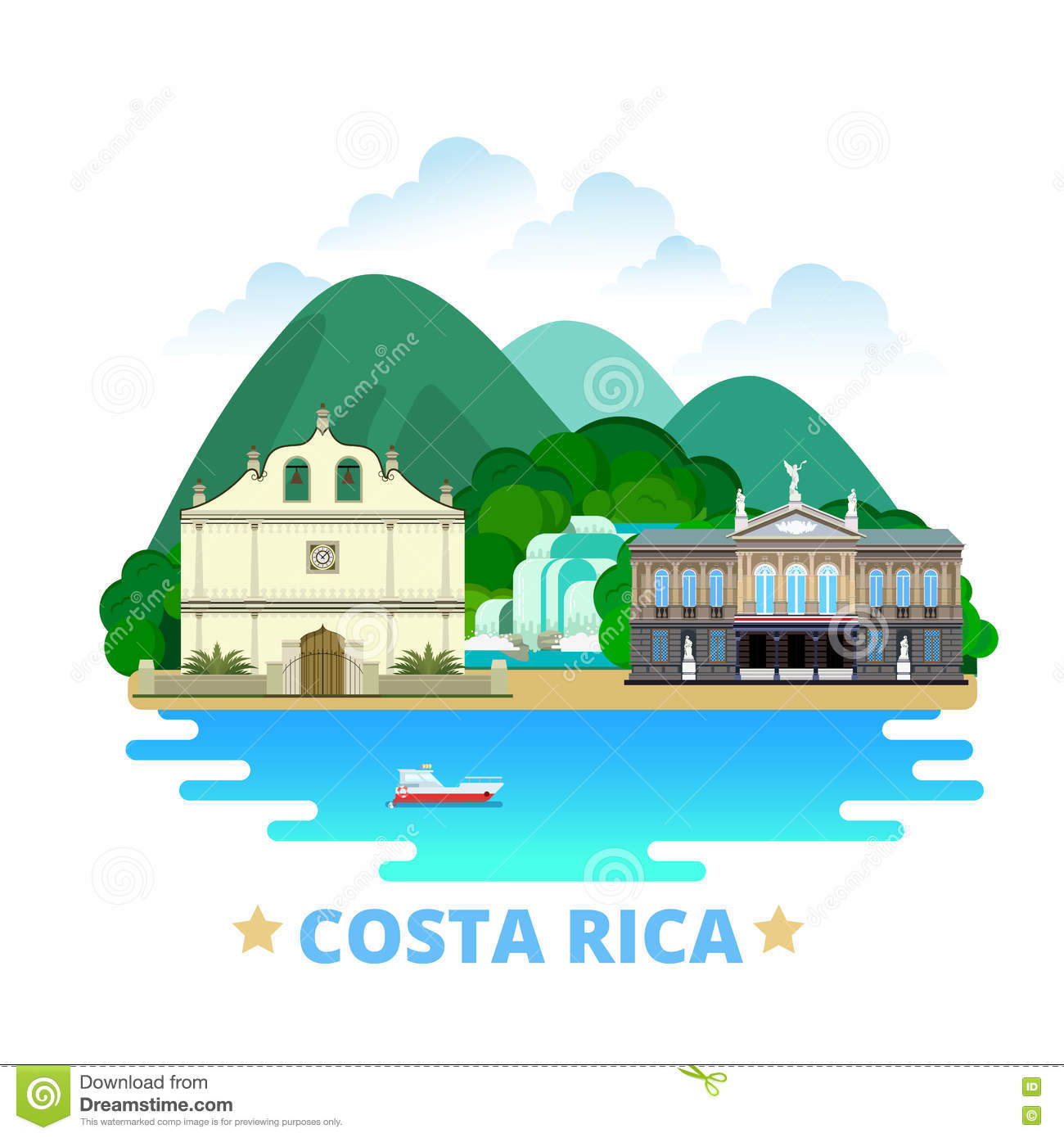 Costa Rica Mobile Web Design Images Unavailable : costa rica country design template flat cartoon st style historic sight showplace web vector illustration world vacation travel 73371592 from www.litocencoa.com size 1300 x 1390 jpeg 125kB
