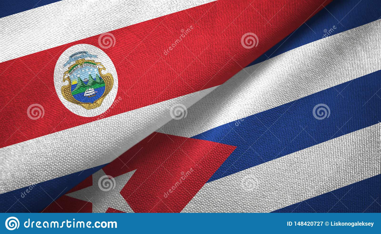 Costa Rica and Cuba two flags textile cloth, fabric texture