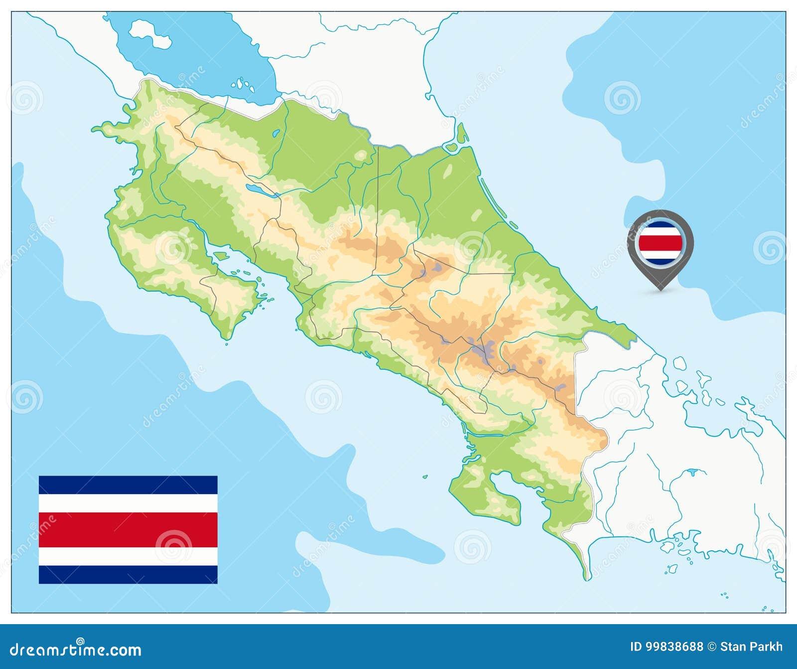 Costa Rica Fizyczna mapa żadny tekst