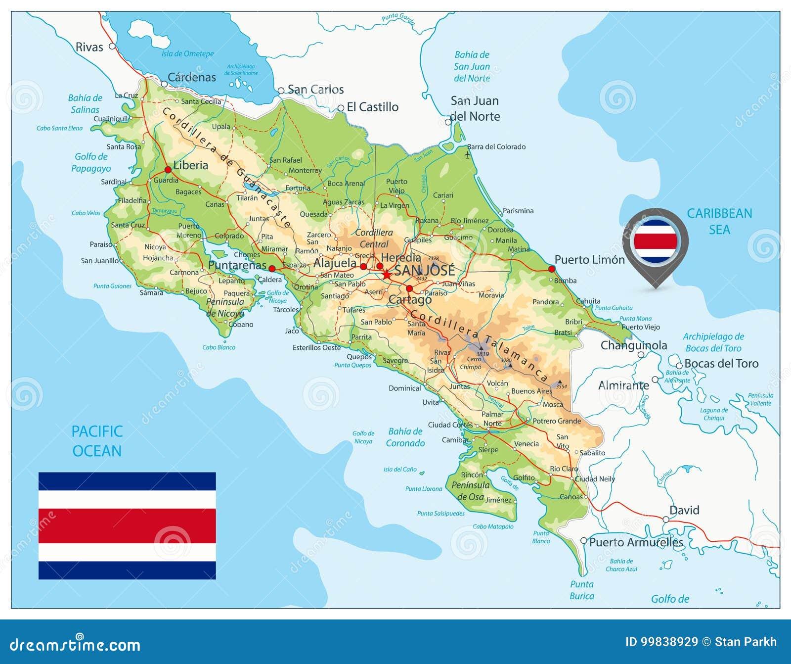 Costa Rica Fizyczna mapa