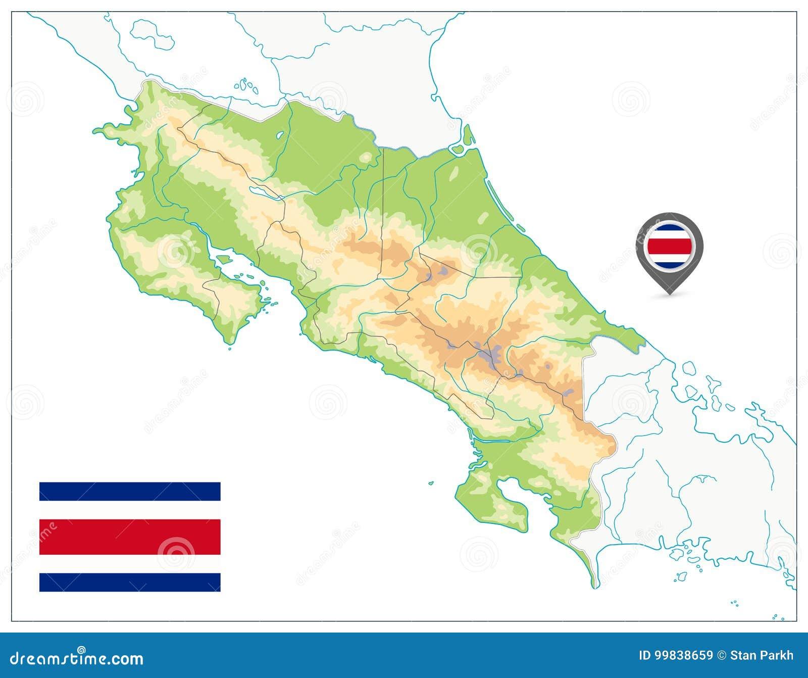 Costa Rica Fizyczna mapa Na biel żadny tekst