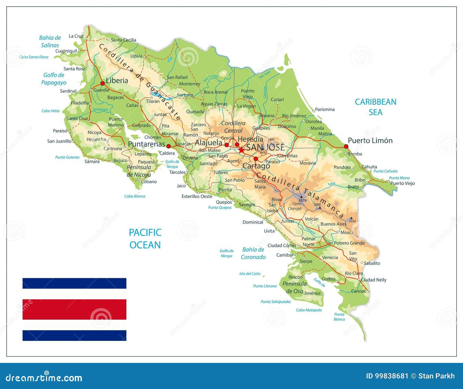 Costa Rica Fizyczna mapa Odizolowywająca Na bielu