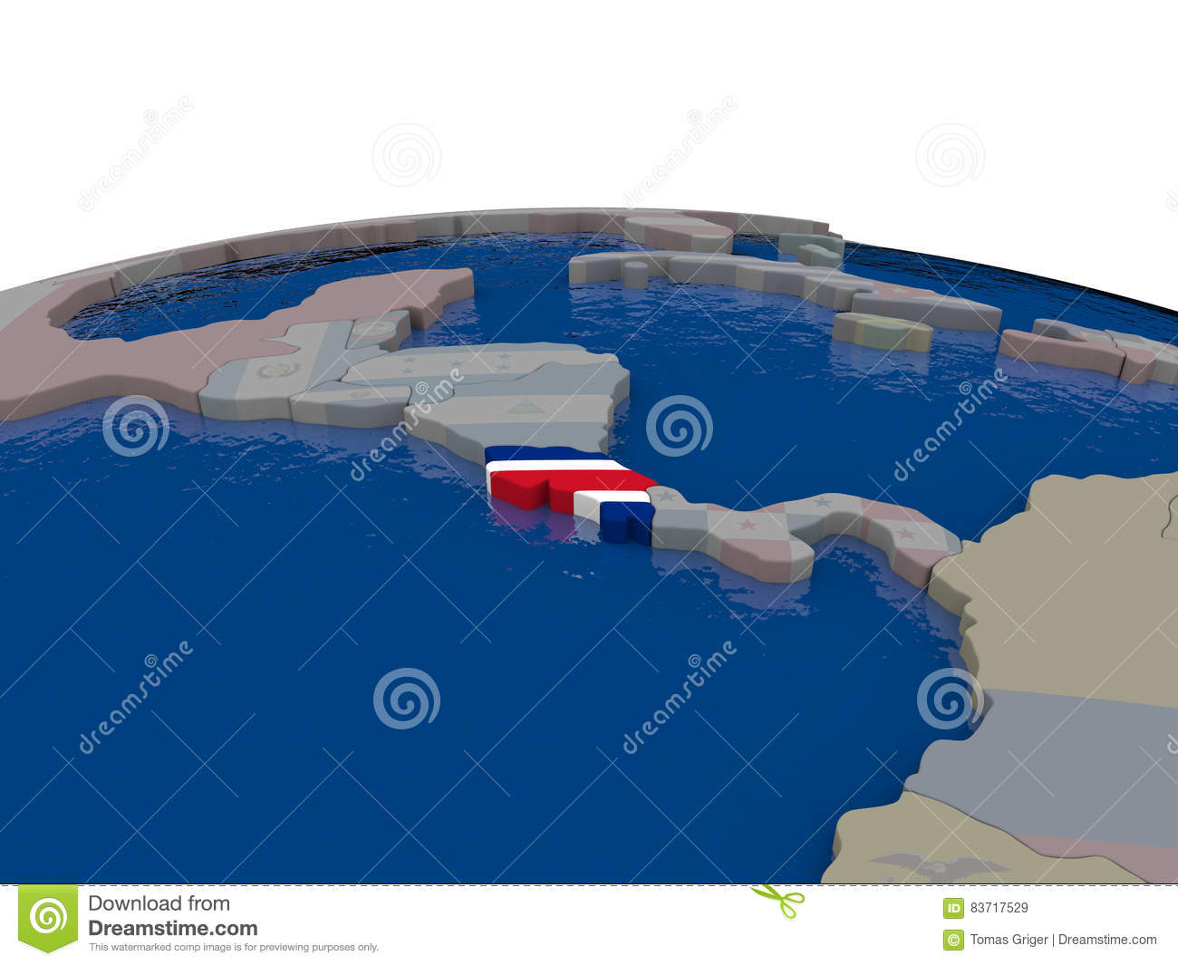 Costa Rica With Flag Stock Illustration