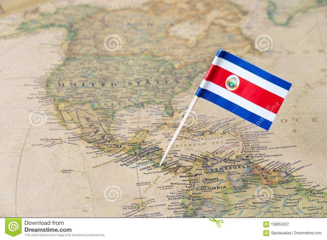 Costa Rica Flag Pin On World Map Stock Image - Image of countries ...
