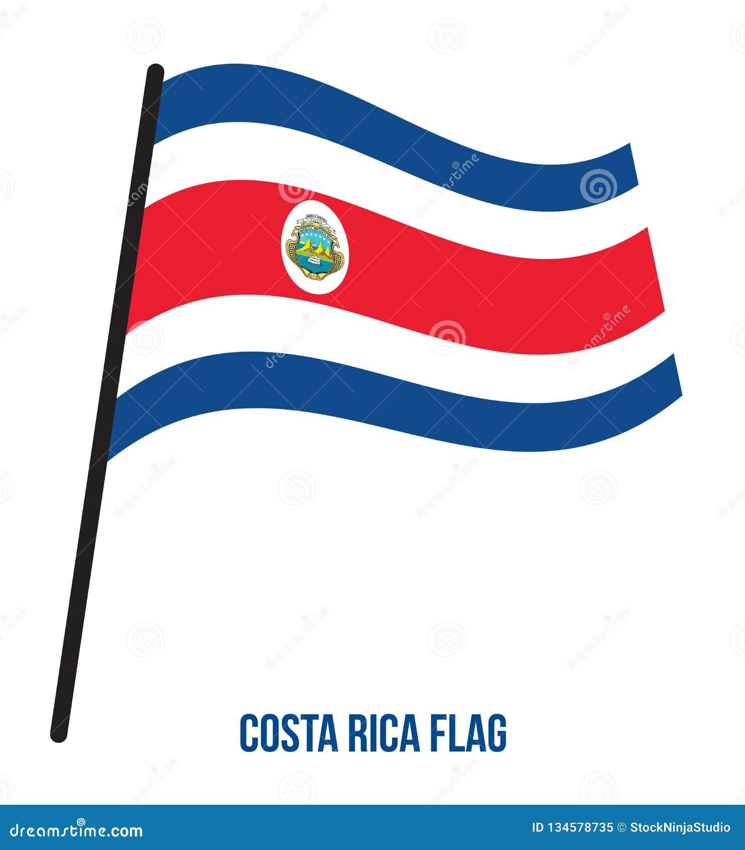 Costa Rica Flag Waving Vector Illustration på vit bakgrund Costa Rica National Flag