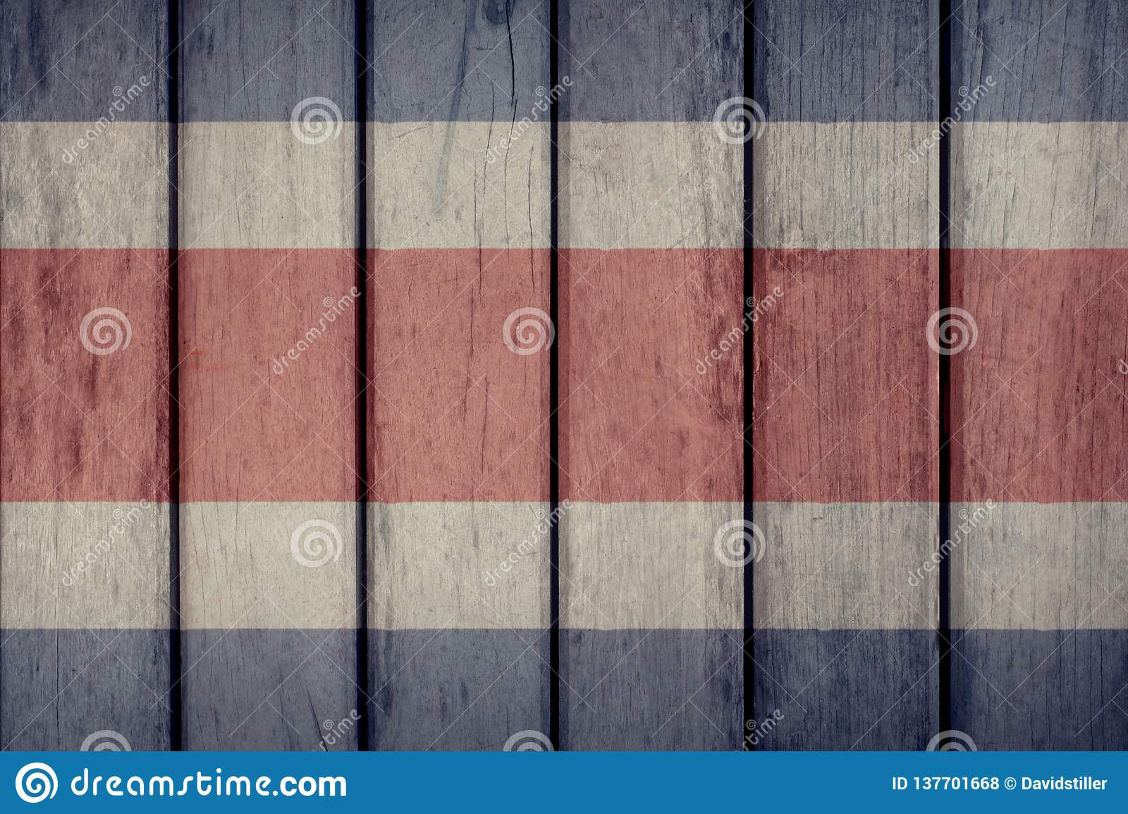 Costa Rica Flag Wooden Fence