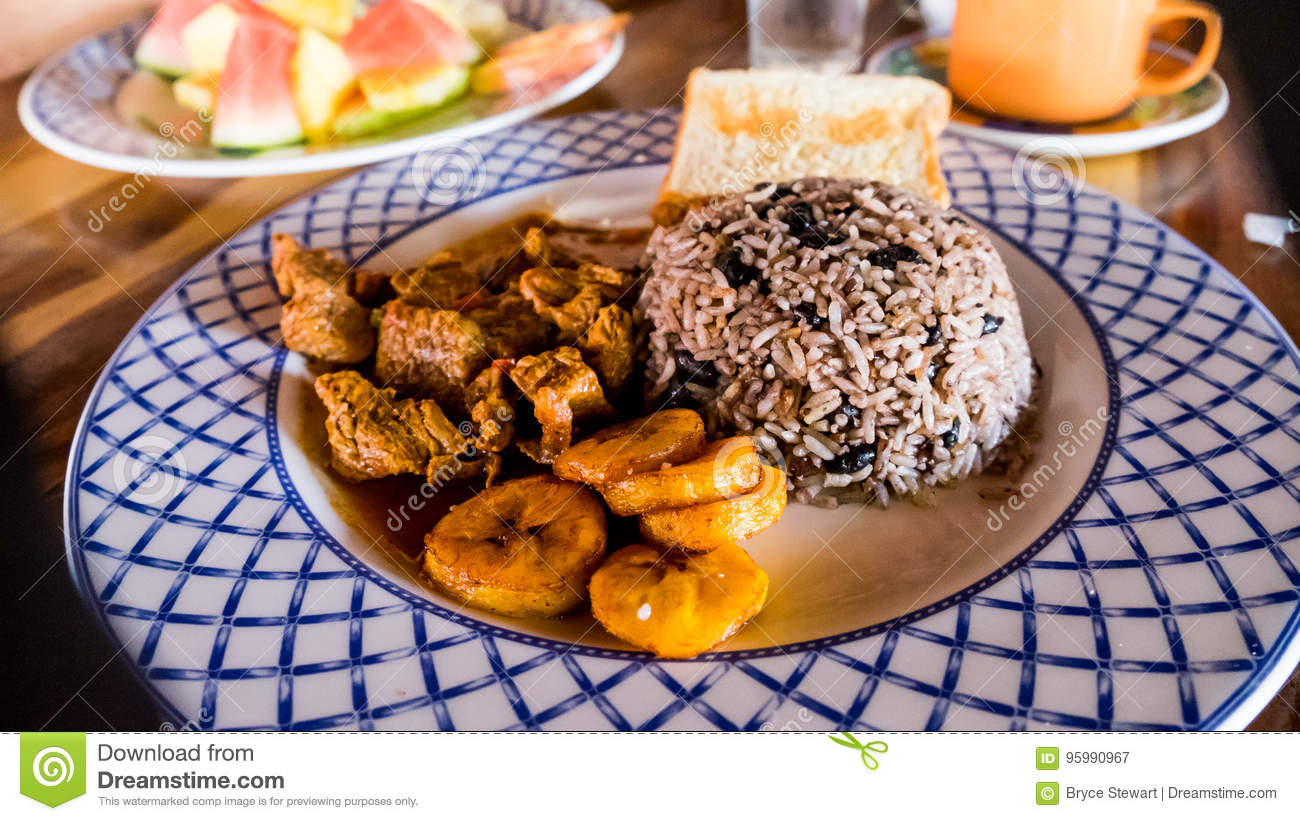 Costa Rica Food Tico Meal Dinner Breakfast Lunch Gallo Pinto Rice & Beans Plantain