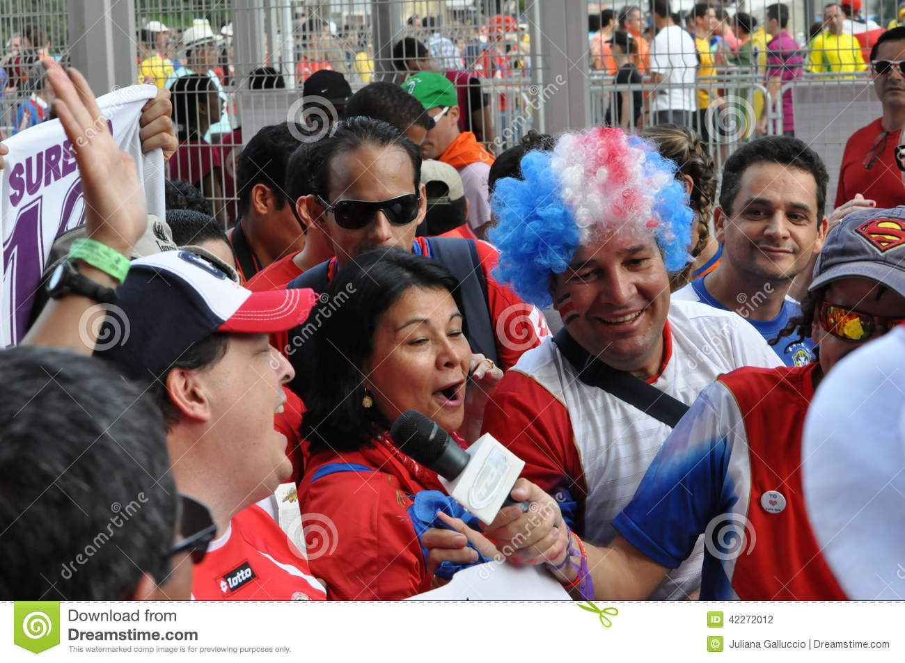 Costa Rica Football Fans Celebrating Editorial Photography
