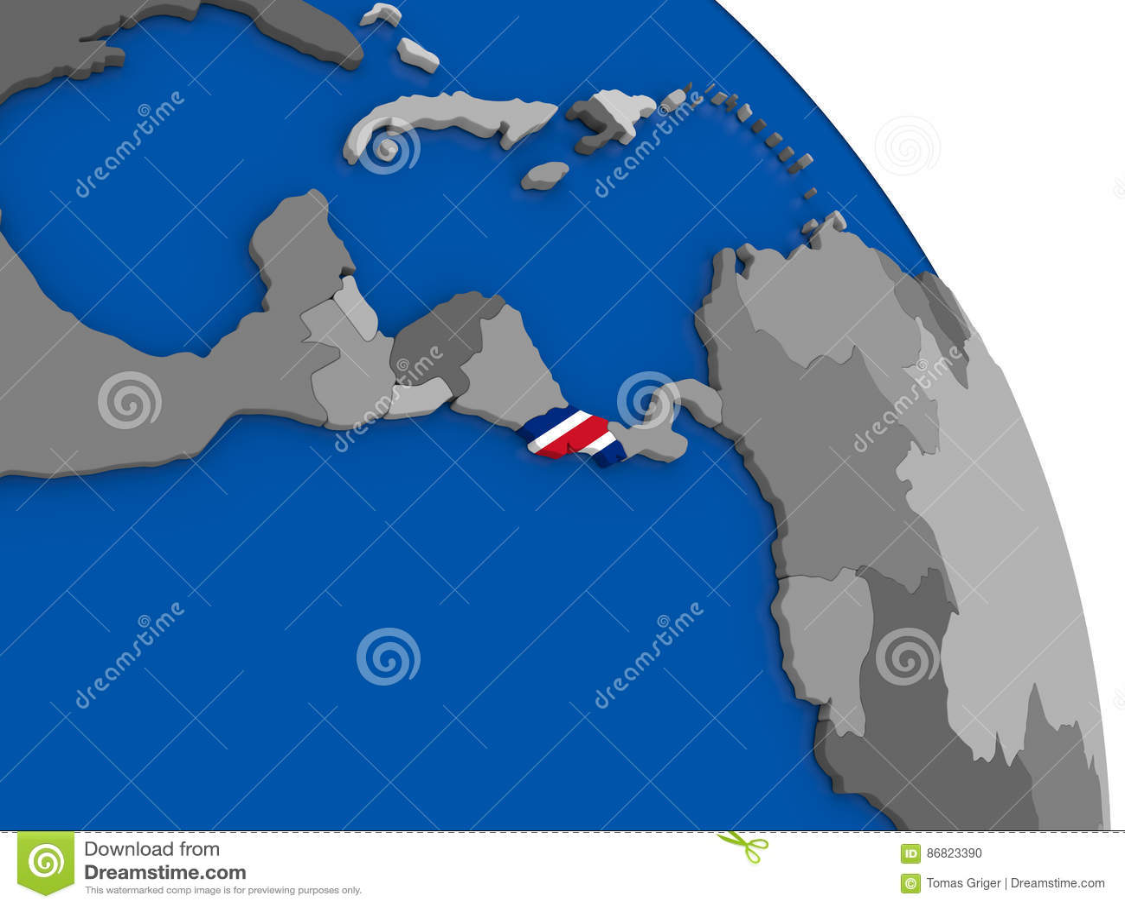 Costa Rica And Its Flag On Globe Stock Illustration - Illustration ...