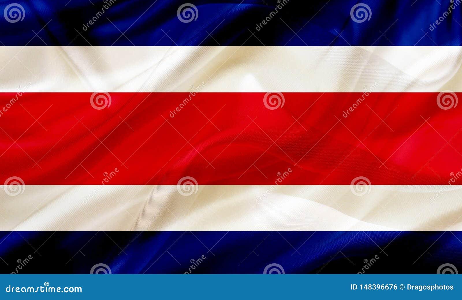Costa Rica landsflagga på siden- eller silkeslen vinkande textur
